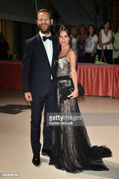 Festival host Alessandro Borghi and Roberta Pitrone arrive at the dinner after the Opening Ceremony during the 74th Venice Film Festival at Excelsior...