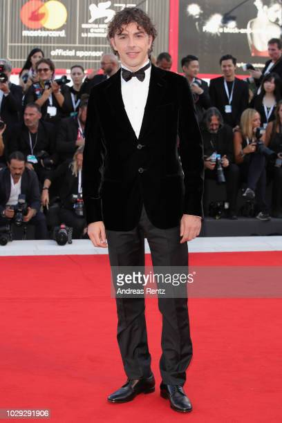 Festival Host Michele Riondino walks the red carpet ahead of the Award Ceremony during the 75th Venice Film Festival at Sala Grande on September 8...