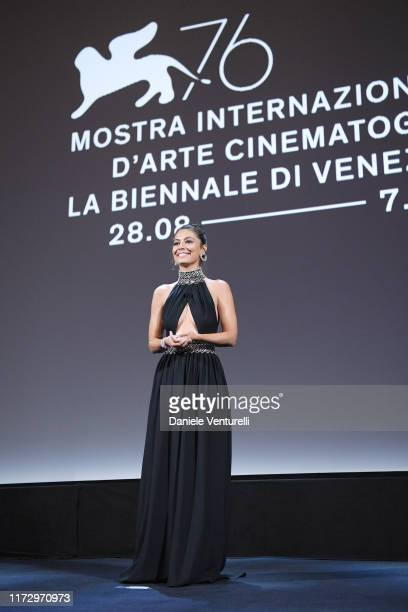 Festival hostess Alessandra Mastronardi speaks on stage during the Award Ceremony during the 76th Venice Film Festival at Sala Grande on September 07...