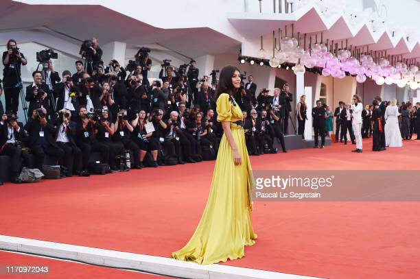 Festival Hostess Alessandra Mastronardi walks the red carpet ahead of the Marriage Story screening during the 76th Venice Film Festival at Sala...