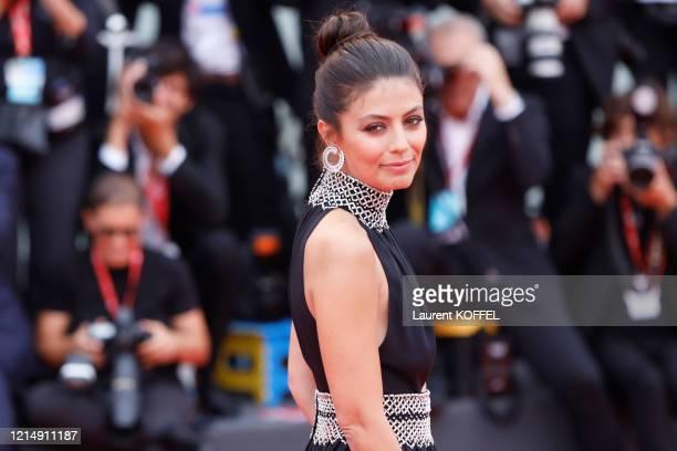Festival Hostess Alessandra Mastronardi walks the red carpet ahead of the closing ceremony of the 76th Venice Film Festival at Sala Grande on...