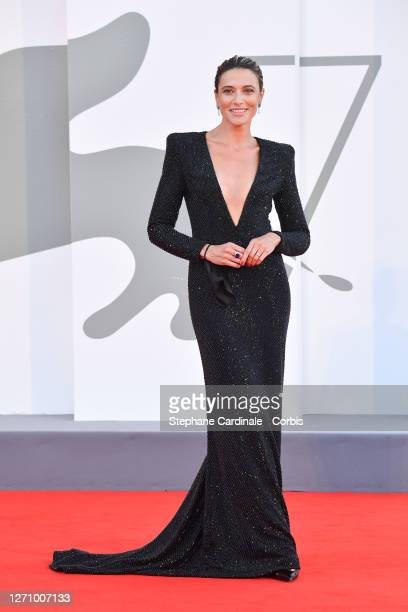 """Festival Hostess Anna Foglietta walks the red carpet ahead of the movie """"The World To Come"""" at the 77th Venice Film Festival on September 06, 2020 in..."""