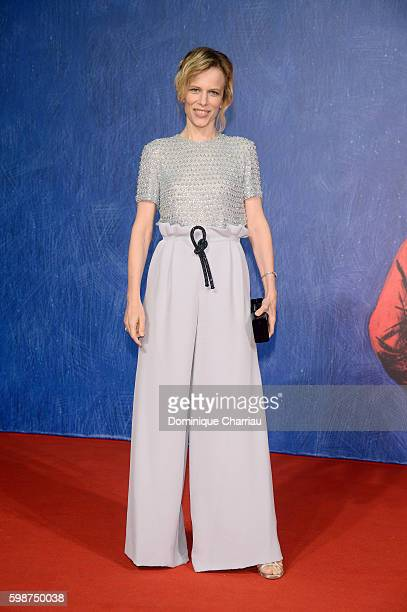 Festival hostess Sonia Bergamasco attends the premiere of 'Franca: Chaos And Creation' during the 73rd Venice Film Festival at Sala Giardino on...