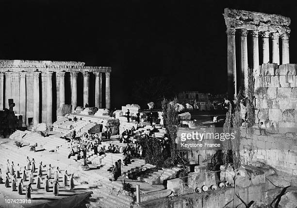 Festival Lebanese Folklore In The Ruins Of Jupiter Temple At Baalbeck In Lebanon On June 19Th 1968