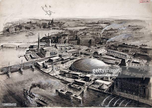 Festival of Britain aerial view 1951 Sketch watercolour