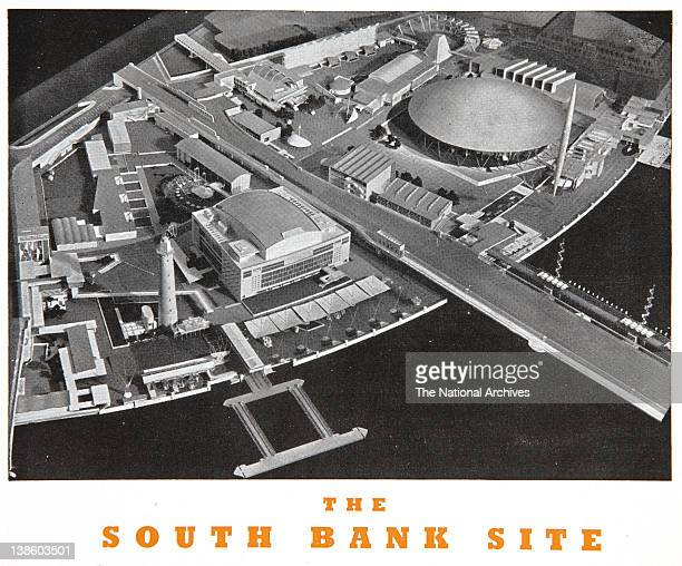 Festival of Britain aerial view of Southbank site 1951