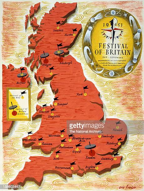 Festival of Britain exhibitions map by Eric Fraser 1951