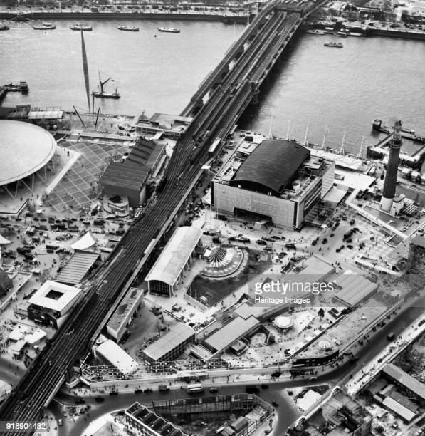 Festival of Britain site South Bank Lambeth London May 1951 View of the site undergoing final preparations showing the Hungerford Bridge and Royal...