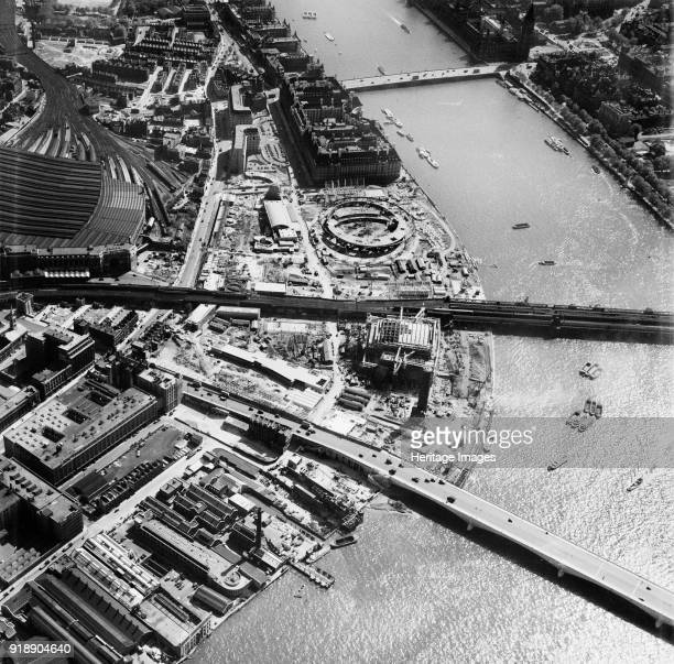 Festival of Britain site under construction South Bank Lambeth London 1950 Artist Unknown
