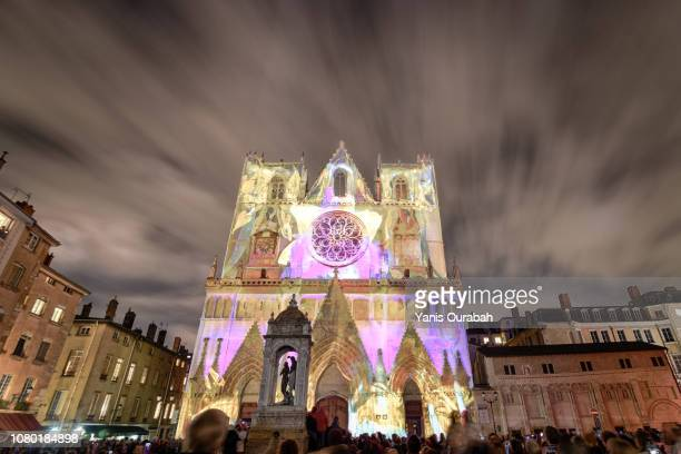 festival of lights in lyon, december 2018 - 2018 stock pictures, royalty-free photos & images