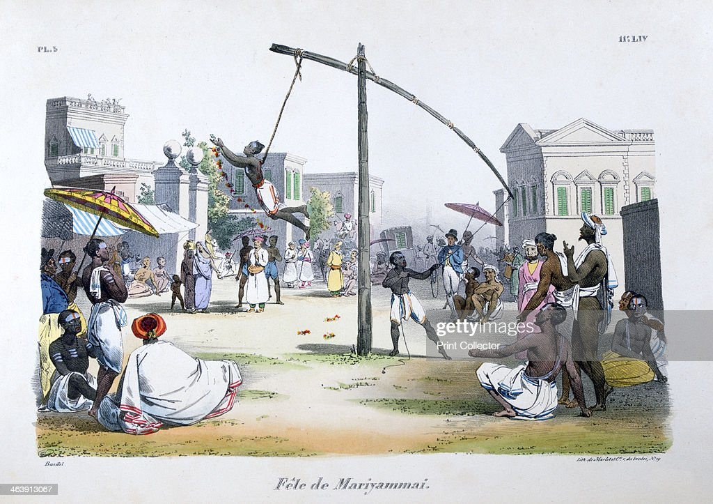 'Festival of Mariyamma, or Mariyammai', (Hindu deity), 1828. Artist: Marlet et Cie : Foto jornalística