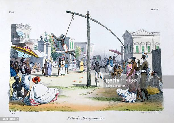 'Festival of Mariyamma or Mariyammai' 1828 Hindus swing on the ends of ropes attached by hooks through their skin A lithograph from L'Inde Français...