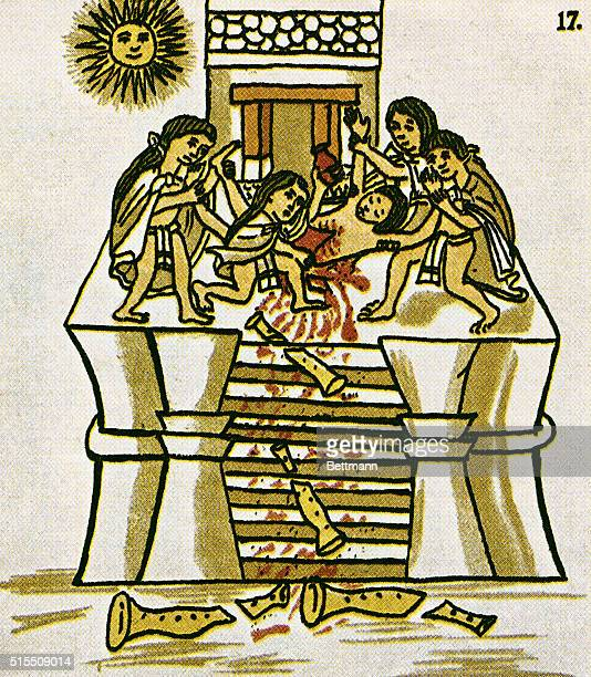 Festival of Tezcatlipoca the god's chosen impersonator offers himself for sacrifice at the temple