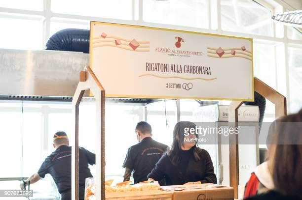 Festival of the 'Carbonara' pasta dish typical of Italian cuisine Eataly Rome on january 20 2018