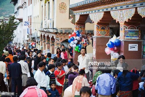 Festival period street market, Thimphu, Bhutan, Asia