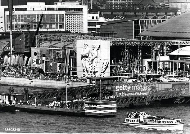 Festival pier and Siegfried Charoux stone relief at the Sea and Ships Pavilion Festival of Britain 1951