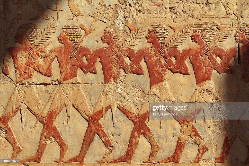 Festival Procession, Chapel of Hathor, Hatshepsut's Temple, Luxor, Egypt : Stock Photo