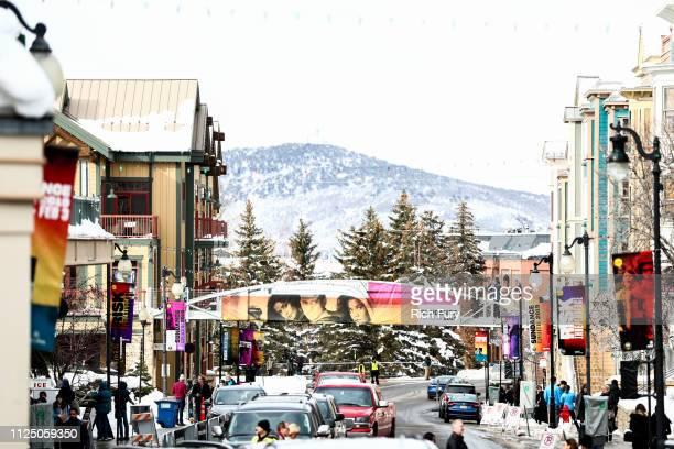 Festival signage is seen on Main Street during the 2019 Sundance Film Festival on January 25 2019 in Park City Utah