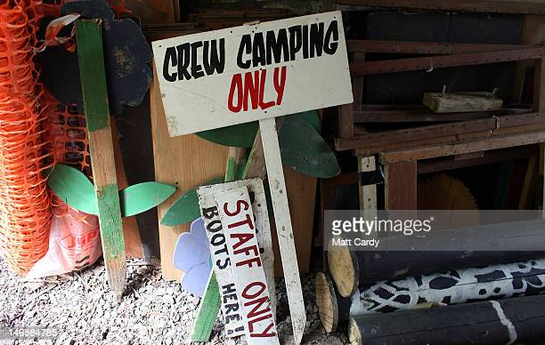 Festival signs and props at the Glastonbury Festival site at Worthy Farm, Pilton are seen on June 20, 2012 near Glastonbury, England. Today would...