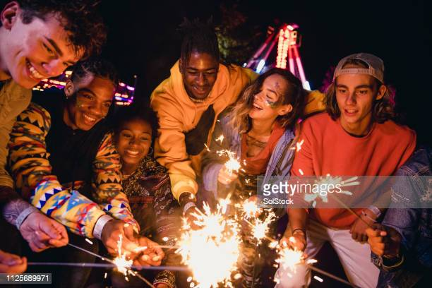festival sparklers - guy fawkes day stock photos and pictures