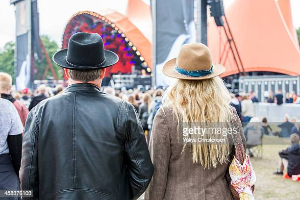 Festival visitors are seen during the Roskilde Festival on July 2 2016 in Roskilde Denmark