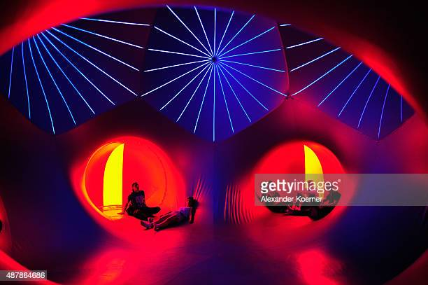 Festival visitors explore the Luminarium at the Lolla Fun Fair during the first day of the Lollapalooza Berlin music festival at Tempelhof Airport on...