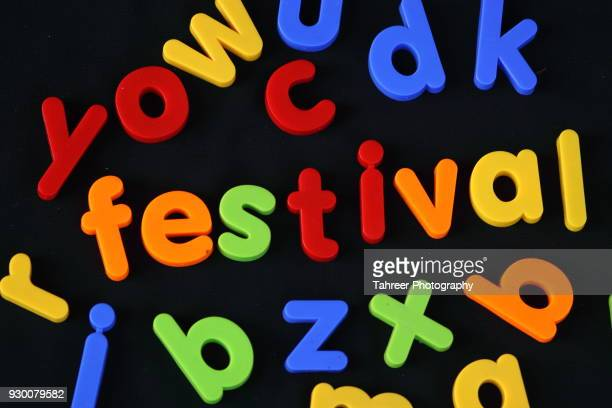 Festival written with toy blocks