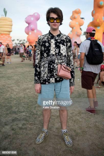 Festivalgoer attends Coachella Valley Music And Arts Festival at Empire Polo Club on April 16 2017 in Indio California