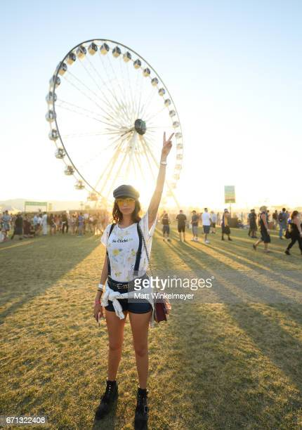 Festivalgoer attends day 1 of the 2017 Coachella Valley Music Arts Festival at the Empire Polo Club on April 21 2017 in Indio California