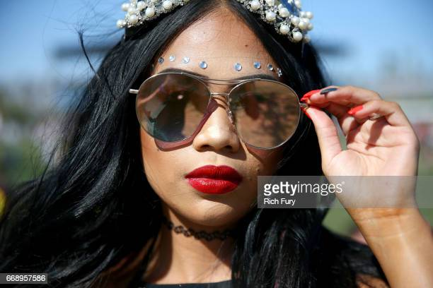 Festivalgoer attends day 2 of the 2017 Coachella Valley Music Arts Festival Weekend 1 at the Empire Polo Club on April 15 2017 in Indio California