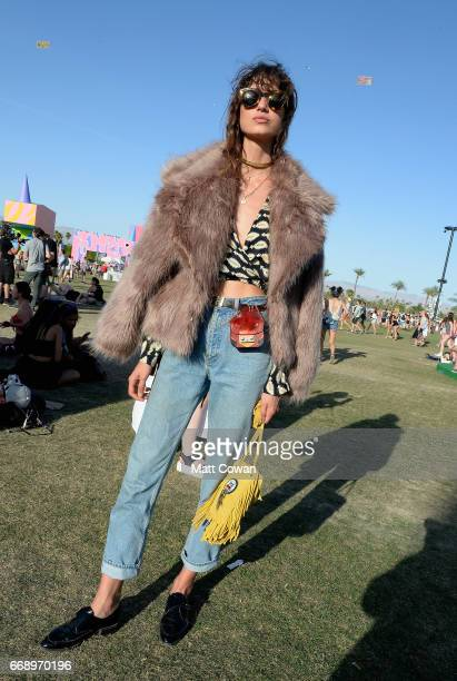 A festivalgoer attends day 2 of the 2017 Coachella Valley Music Arts Festival Weekend 1 at the Empire Polo Club on April 15 2017 in Indio California