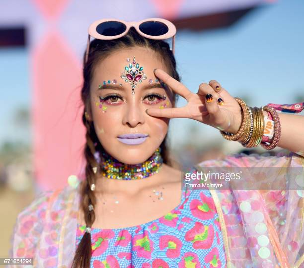 Festivalgoer attends day 2 of the 2017 Coachella Valley Music Arts Festival at the Empire Polo Club on April 22 2017 in Indio California