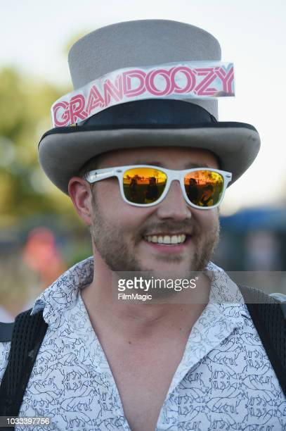 A festivalgoer attends the Kim Ann Foxman performance in The Break Room during day 1 of Grandoozy on September 14 2018 in Denver Colorado