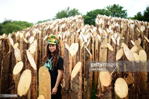 """Festival-goer """"Jo"""" is seen as the gates are opened during day one of Glastonbury Festival at Worthy Farm, Pilton on June 26, 2019 in Glastonbury,..."""