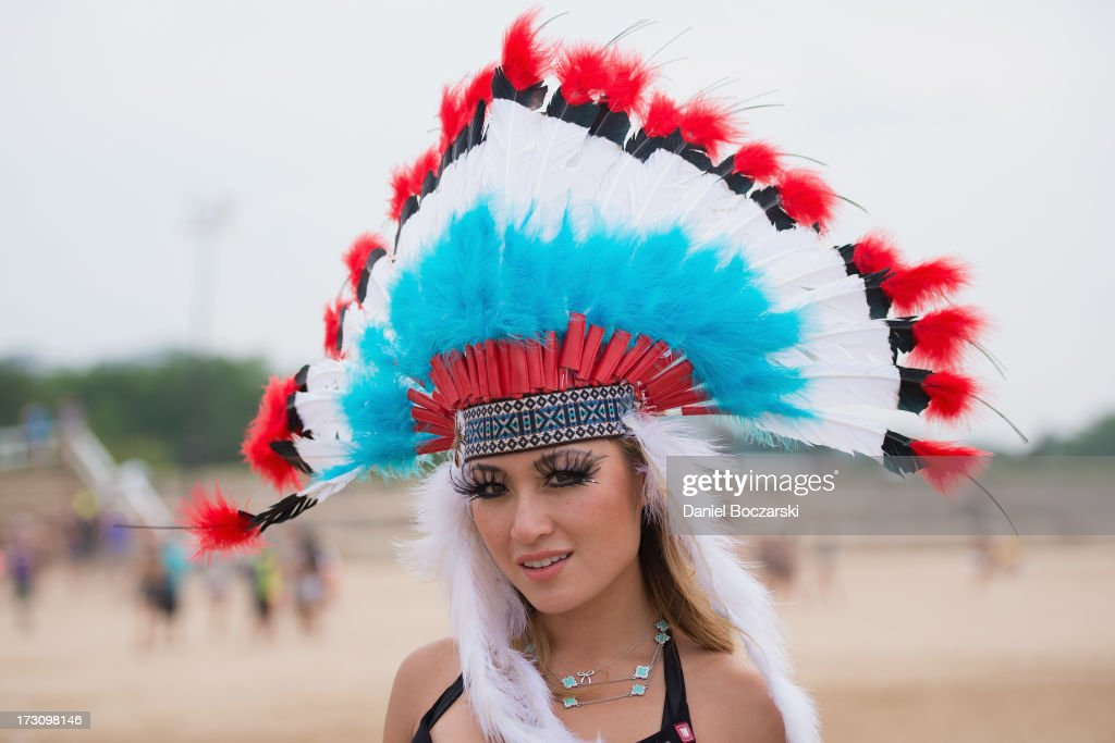 A festival-goer poses during the 2013 Wavefront Music Festival at Montrose Beach on July 6, 2013 in Chicago, Illinois.