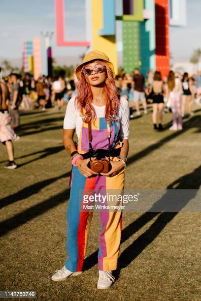 Festivalgoer street style is seen at The 2019 Coachella Valley Music and Arts Festival Weekend 1 on April 14, 2019 in Indio, California.