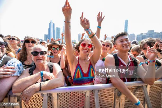 Festival-goers are seen during day 1 of Lollapalooza at Grant Park o9, ln July 22021 in Chicago, Illinois.