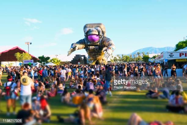Festivalgoers are seen during the 2019 Coachella Valley Music And Arts Festival on April 19 2019 in Indio California