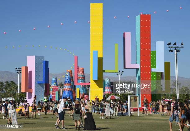 Festivalgoers are seen during the 2019 Coachella Valley Music And Arts Festival on April 21 2019 in Indio California
