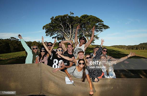 Festivalgoers arrive onsite for day 1 of the 2013 Splendour In The Grass Festival on July 26 2013 in Byron Bay Australia