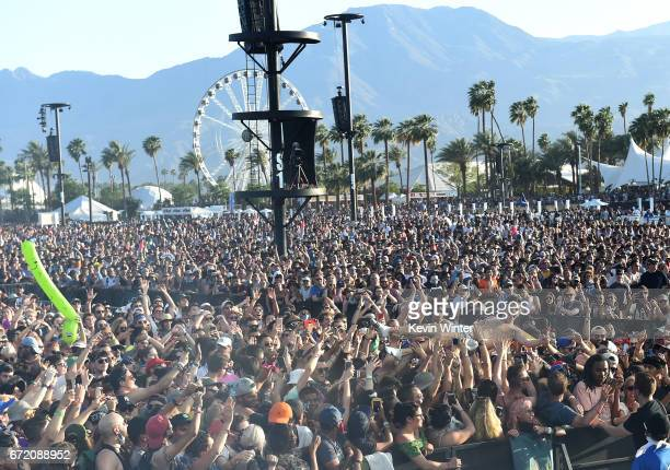 Festivalgoers at the Coachella Stage during day 3 of the Coachella Valley Music And Arts Festival on April 23 2017 in Indio California