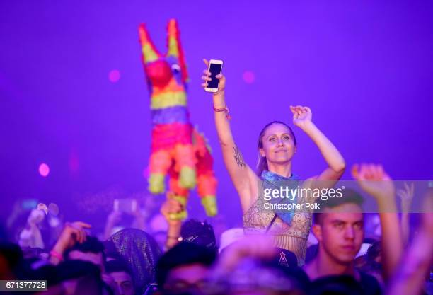 Festivalgoers at the Sahara Tent during day 1 of the 2017 Coachella Valley Music Arts Festival at the Empire Polo Club on April 21 2017 in Indio...