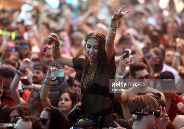 Festivalgoers attend 2018 Coachella Valley Music And Arts Festival Weekend 1 at the Empire Polo Field on April 14, 2018 in Indio, California.