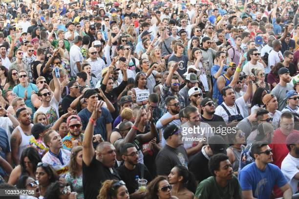 Festivalgoers attend a performance by Big KRIT on the Paper Stage during day 1 of Grandoozy on September 14 2018 in Denver Colorado