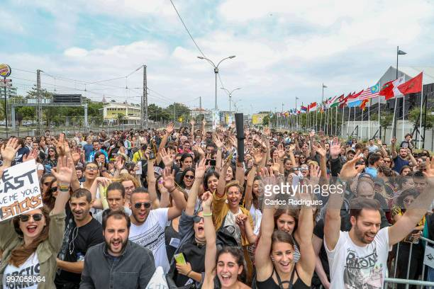 Festivalgoers attend Day 1 of NOS Alive Festival 2018 on July 12 2018 in Lisbon Portugal