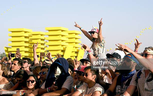 Festivalgoers attend day 1 of the 2016 Coachella Valley Music Arts Festival Weekend 1 at the Empire Polo Club on April 15 2016 in Indio California