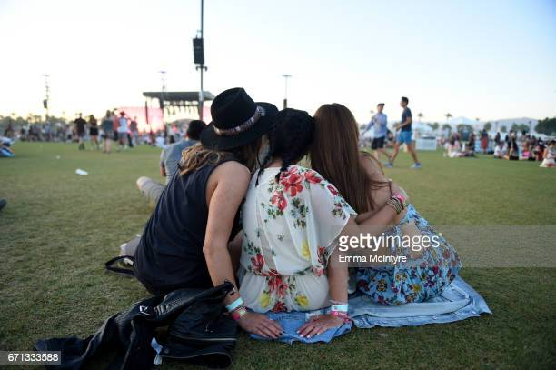 Festivalgoers attend day 1 of the 2017 Coachella Valley Music Arts Festival at the Empire Polo Club on April 21 2017 in Indio California