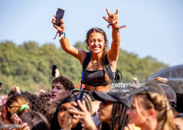 Festival-goers attend day 3 of Lollapalooza at Grant Park on July 30, 2021 in Chicago, Illinois.