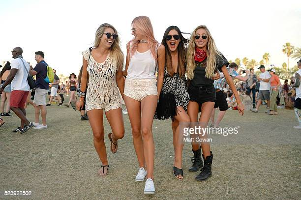 Festivalgoers attend day 3 of the 2016 Coachella Valley Music Arts Festival Weekend 2 at the Empire Polo Club on April 24 2016 in Indio California