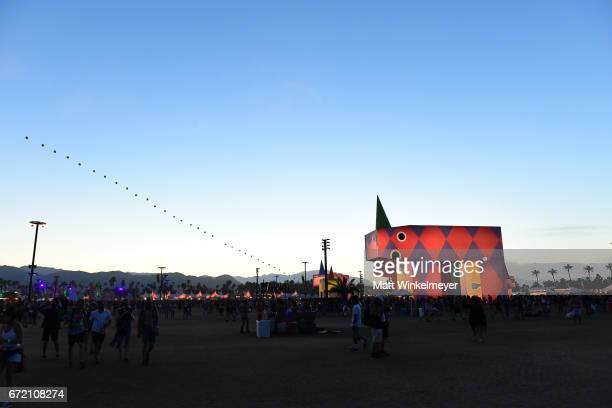 Festivalgoers attend day 3 of the Coachella Valley Music And Arts Festival at the Empire Polo Club on April 23 2017 in Indio California